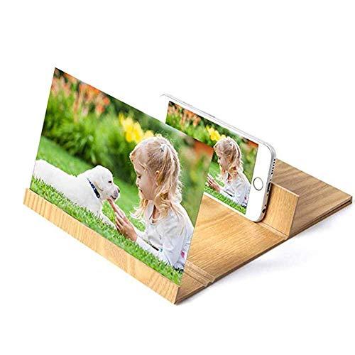 HJXSXHZ366 loep voor smartphone-loep, 12 inch (30,5 cm) 3D, beeldschermvergrootglas voor smartphones, versterkers voor mobiele telefoon, film-videobeeldschermversterker met houtnerf, standaard, klapstandaard voor smartphone, goud
