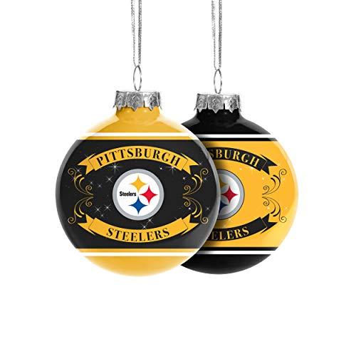 FOCO Pittsburgh Steelers NFL 2019 Glass Ball Ornament - 2 Pack