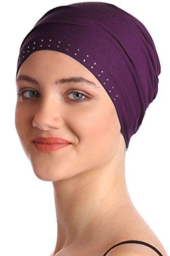 Deresina Headwear Jeweled Wesentliche Baumwollkappe (Plum)