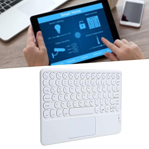 Ratón y Teclado Bluetooth, Teclado inalámbrico con Panel táctil Control Ultrafino y preciso Diseño ergonómico para Tableta(White)