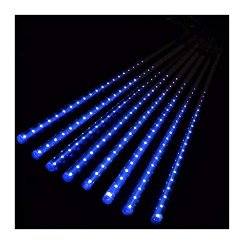 NXWL Outdoor String Lights 20cm 30cm 50cm Meteor Shower Rain 8 Tubes LED String Lights Waterproof for Christmas Wedding Party Decoration Outdoor Garden Decor (Color : Blue, Size : 20CM)