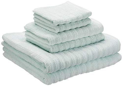 Price comparison product image iDesign Set of 6 Towels with Hangers,  Bath Towels Set Made of 100% Cotton with Stripe Structure,  Towels Set with 2 Hand Towels,  2 Bath Towels and 2 Face Cloths,  Spa Blue