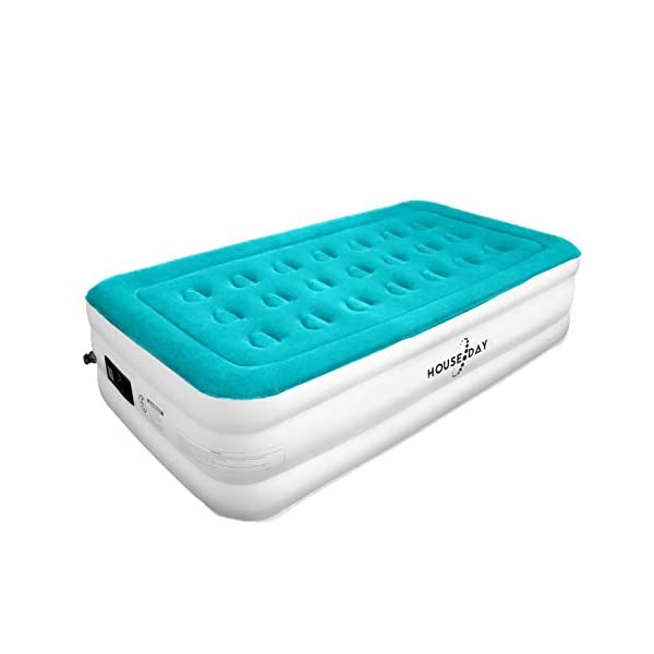 HOUSEDAY Twin Air Mattress with Built- Raised Electric Airbed with Built in Pump Fast Inflation Carry Bag Highest End Blow Up Bed, Inflatable Air Mattresses for Home Travel Twin Matress 74″x39″x18″