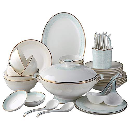 ASYCAN 42-Pieza de Oro del halo de vajilla de Porcelana Placas Cuencos de China de Hueso de Servicio Durante 10 se...