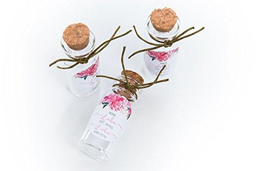 Schokoladenseite 40 Stück 20 ml Mini Glasflaschen Fläschchen mit Korken Aufkleber Blumen 175317 Gast Geschenk Hochzeit