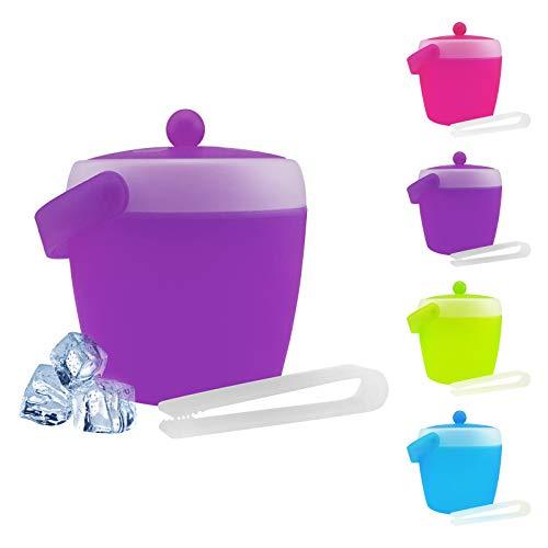 Cubitera con tapa y pinzas, capacidad 2litros (diámetro x altura: 17,5x 19,5cm), de plástico–azul, verde, rosa o morado