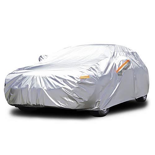 Audew Autoabdeckung mit 6 Schichten, wasserdicht, wetterfest, atmungsaktiv, UV-Schutz, schneefest, staubdicht, universelle Passform, vollständige Autoabdeckung für Limousine, SUV L (43,5 cm – 48,9 cm)