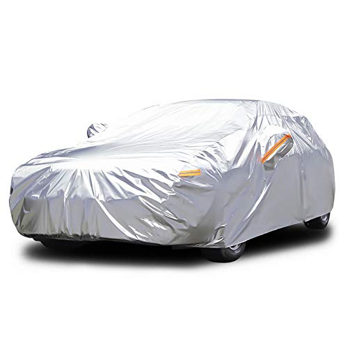 Audew 6 Layers Car Cover Waterproof All Weather Breathable UV Protection Snowproof Dustproof Universal Fit Full Car Covers for Sedan, SUV L(175''-190'')