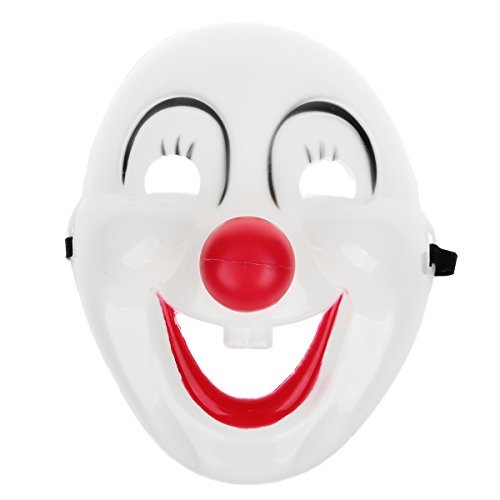 Clown Mask Halloween Masquerade Party-White + Black + Red