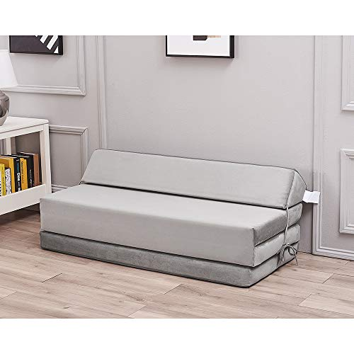 Panana Luxury velvet 210g (Holland Flocking) Fold Out Single Double Guest Z ChairBed Folding Mattress Sofa Bed Futon (Dove Grey, Double)