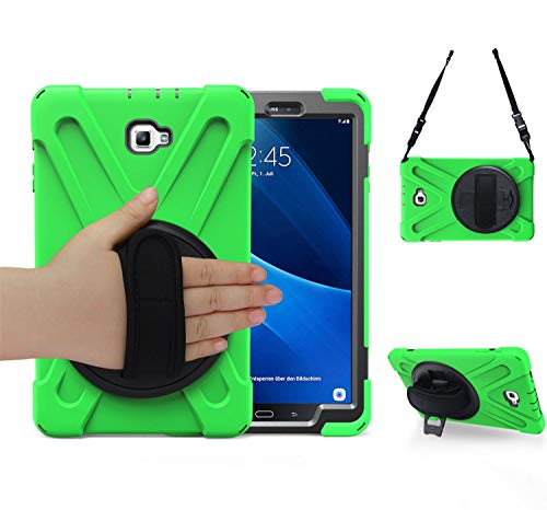 Galaxy tab a 10.1 case, TSQ Three Layer Hybrid Defender Bumper Drop Protection Rubber Hard Silicon Case Cover for Kids Students with Handle Hand Grip,Shoulder Strap& 360 Degree Rotatable Stand-Green