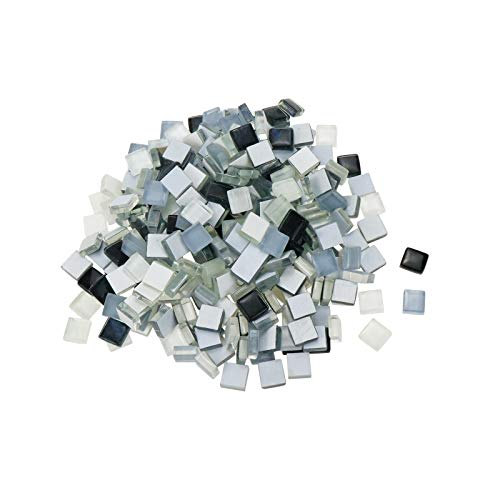 HONJIE 1x1cm Mosaic Glass Tiles, Shine Crystal Mosaic Glass Pieces Bulk Assorted Square Glitter Crystal Mosaic Tiles for Home Decoration or DIY Crafts,Gray Black and White 300Pcs