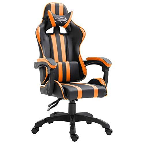 vidaXL Gamingstuhl Bürostuhl Computerstuhl Schreibtischstuhl Drehstuhl Chefsessel Gaming Stuhl Orange PU Liegefunktion Höhenverstellbar Ergonomisch