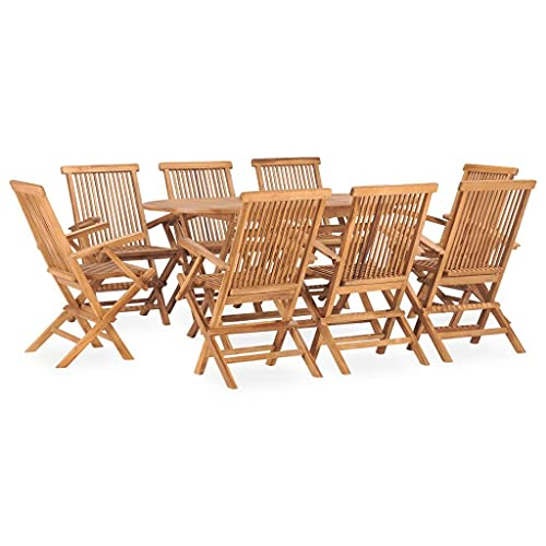 vidaXL Solid Teak Wood Folding Outdoor Dining Set 9 Piece Foldable Outdoor Furniture Set Wooden Garden Patio Dining Table and Chairs