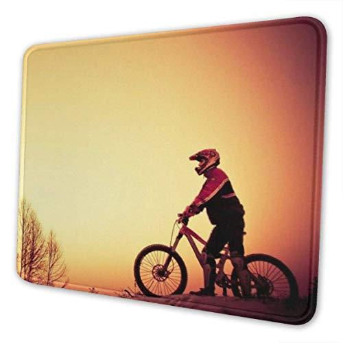 Gaming Mouse Pad - Forest Mountain Bike Rectangle Rubber Mousepad -X 0.12''(3mm Thick) Mouse Mat for Gift Support Wired Wireless Or Bluetooth Mouse 11.8-inch by 9.85-inch
