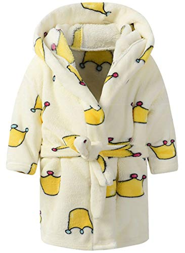 Image of Light Yellow Crown Bath Robe for Girls and Toddlers - See More Cute Robes