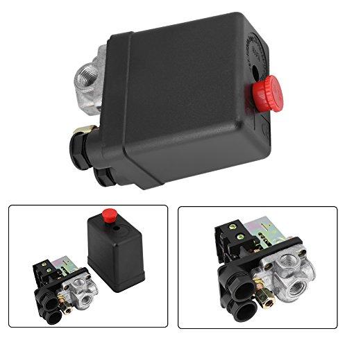Interruptor del compresor de aire, AC220 10A Compresor de aire de 4 puertos Presión de la bomba Botón de encendido/apagado Válvula de control Tipo vertical Regulador de presión de repuesto