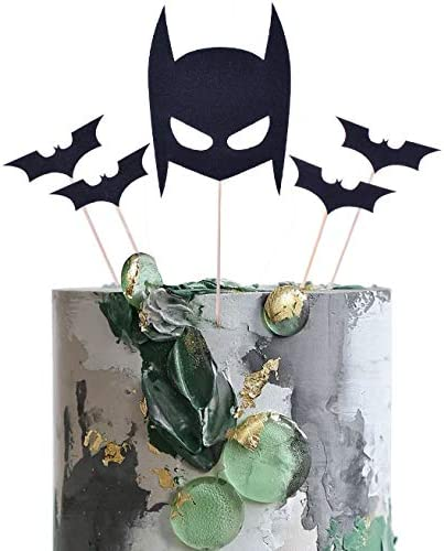 SHAMI Glitter Black Bat Cake Topper for BOY Cake Decoration Birthday Party Supplies Black Hallowee product image