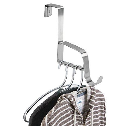 mDesign deurgarderobe - haak om over de deur op te hangen - met 1 haak voor mantels, jassen, badjassen, handdoeken in hal en badkamer - super aanvulling voor de garderobe - roestvrij staal