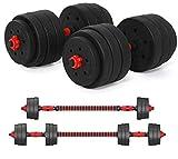 Kit Mancuernas Musculacion Grandes Mancuernas, Pesas Ajustables + Conector Extra Largo 400mm Para Entrenar En El Gimnasio y En Casa 50kg/110lbs / 50kg