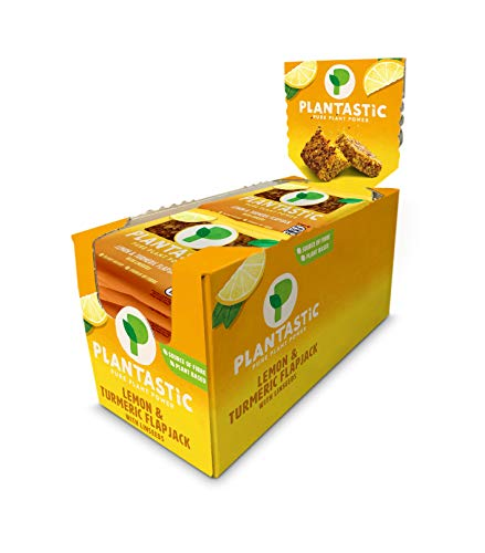 Plantastic Lemon & Turmeric Flapjack - Vegan, 100% Plant-Based Snack (8 x 1 Case)