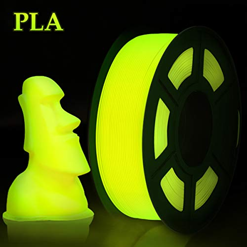 Enotepad Impresora 3D Filamento PLA, PLA Filament Amarillo 1.75mm 1KG Glow in the dark, PLA Lumious Amarillo