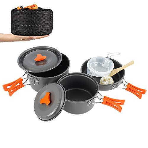 Beenle-Icey Juego de ollas de camping portátil para 2 – 3 personas, kit de ollas para picnic, barbacoa, ultraligeras, antiadherentes, ideales para camping, senderismo, pícnic