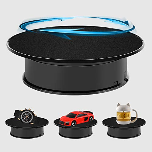 Inovat 8quot UltraQuiet Motorized Rotating Display Stand for Video Photography Products Display 360 Degree Black Velvet Rotating Turntable for Jewelry 3D Models Battery Operated 2lb Load