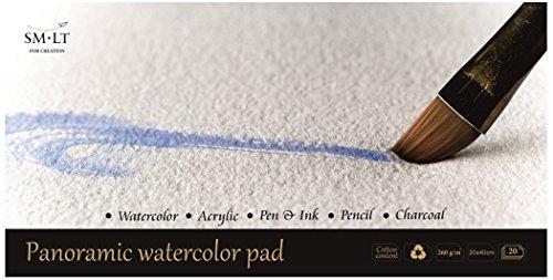 SM.LT AS de 20(260) Pan English Watercolor Pads Panorama Acuarela Papel, 260gsm Blanco 100% papel reciclado con algodón, alterungsbeständig y ácido, 20hojas