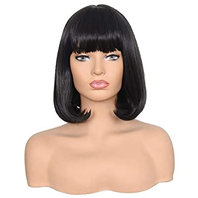 Morvally 12 Inches Short Straight Bob Wig with Bangs