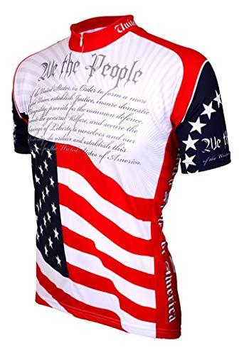 BDI Cycling Apparel - Maillot de Ciclismo para Hombre, Maillot de Ciclismo, Hombre, Color Rojo, Blanco y Azul, tamaño Large