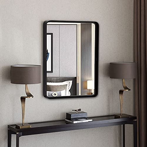 Espejo rectangular de pared de 40,6 x 50,8 cm, con marco de metal decorativo para baño, baño, dormitorio, sala de estar, entradas...