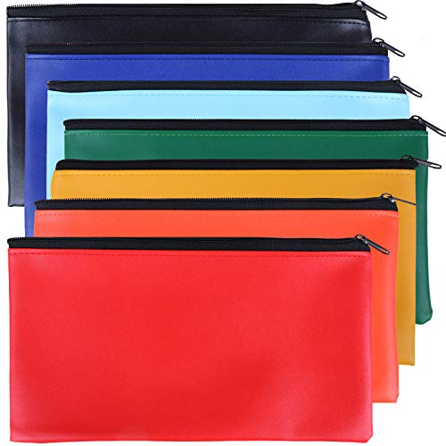 14 Pack Security Bank Deposit Bag 7 Colors Zippered Money Bags,Leatherette...