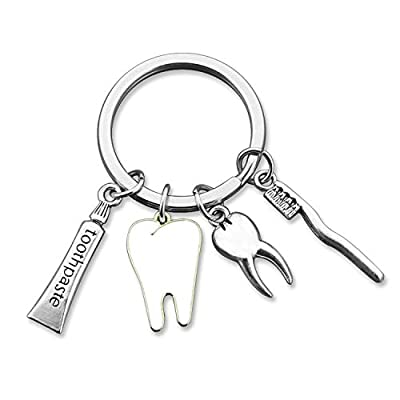 HN HNHB Denist Gift Dental Gift Dentist Keychain Small Teeth Toothpaste Toothbrush Charm Birthday Christmas Appreciation Gift for Dentist