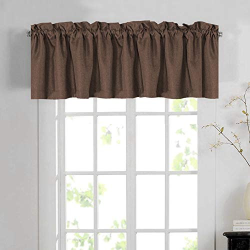 H.VERSAILTEX Blackout Linen Curtain Valances for Kitchen/Bathroom/Laundry - (1 Panel) Thermal Insulated Window Valances for Living Room/Bedroom Rod Pocket Casual Curtain 52x18 inch, Cocoa Brown