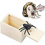 Caja de Araña de Madera Caja de Broma Araña Asustar Caja de Sorpresa de Broma, Divertida Juguete De Broma Práctico para Niños Adultos Halloween Fiesta Regalos