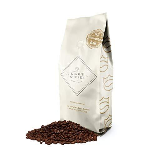 KING\'S COFFEE – WHITE EDITION | 1kg | Milde 100{fd5babe2bc48b099a9262424bcbd340d2313734198d1a8a92ef41bf2ff552bad} Arabica Selektion | kleine Chargen-Röstung aus Italien | ganze Espresso-Bohnen für Vollautomaten & Filter