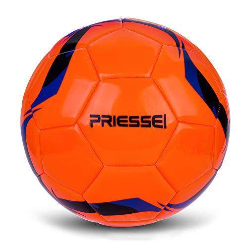 Priessei Fußball-Trainingsball, Größe 5, offizieller Indoor- und Outdoor-Fußball, professioneller Spielball (Orange)