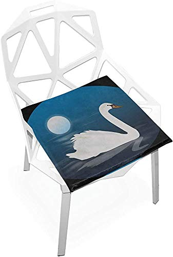 Mesllings - Cojín de asiento para exteriores, diseño de cisne de Cygnus, pájaro, luna azul, naturaleza, noche, suave, antideslizante, espuma de memoria, cojín para silla de 38 x 35 cm