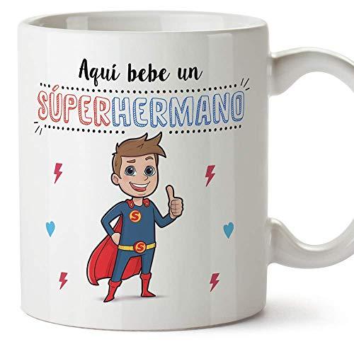 MUGFFINS Taza Hermano – Aquí Bebe un Super Hermano – Taza Desayuno/Idea Regalo Original/Cumpleaños de Hermanitos. Cerámica 350 mL