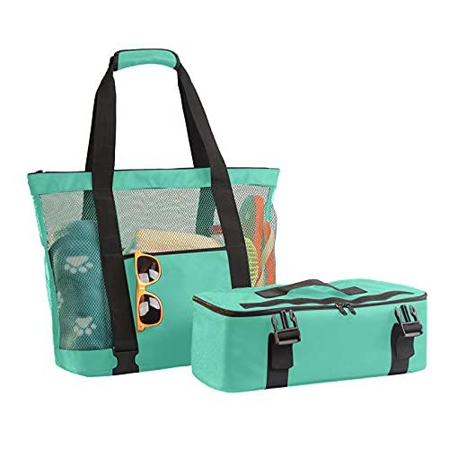 xiangqian Bolsa de playa 2 en 1 de gran tamaño ligera de malla de playa bolsa de almacenamiento de verano para playa al aire libre