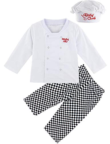 MOMBEBE COSLAND Disfraz Cocinero Bebé Niño Conjunto de Camiseta Manga Larga Gorro (Cocinero, 18-24 Meses)