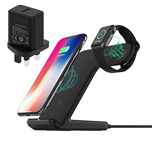 FACEVER Cargador inalámbrico 2 en 1, soporte de carga inalámbrico rápido, estación de carga Qi para iPhone 12 Pro Max 11 XR XS 8 Plus Apple Watch 6 SE 5 4 3 2 (con adaptador QC3.0), color negro