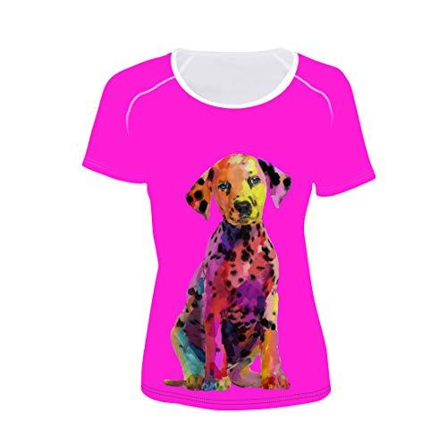 Frauen T-Shirt Hund Druck Hippie Sommer Tee Anti-Pilling Hautfreundliche Rosa Tshirts GroßE T-StüCk Kurzarm Oberteile CC13 S
