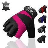 Bavia Echtleder Trainingshandschuhe - Premium Sporthandschuhe für Damen & Herren (Pink, M)