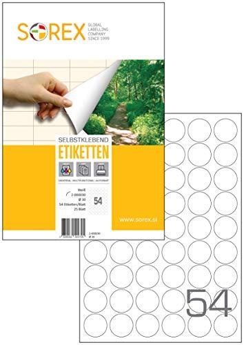 Sorex FI 30 mm Universal Etiketten Selbstklebend Weiß für alle Drucker, 25 Blatt DIN A4, Premium Aufkleber, Starke Klebekraft, Barcode, Adressetiketten, Gerundet, 54 Etiketten/Blatt