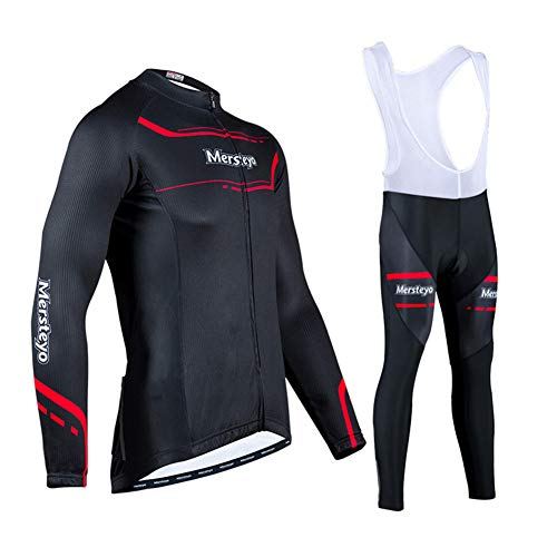 HUIGE Long Sleeve Cycling Set Road Biking MTB Sportswear Tops Moisture Wicking Breathable Quick Dry Elastic Lightweight Great Gifts for Men Unisex,Red,XXL