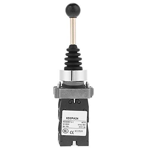 Interruptor momentáneo de palanca de mando de 1 pieza, interruptor de retorno por resorte de 4 posiciones, palanca de mando basculante para arrancador magnético, contactor (negro)