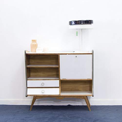 Aparador, recibidor, mueble bar de chapa de madera, estética nórdico o escandinava, perofecto para salón o recibidor. Blanco y madera