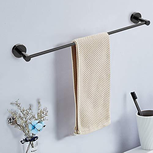 Towel Bar, 24 Inch Black Matte Steel Single Towel Racks for Bathroom Kitchen Hand Towel Holder Dish Cloths Hanger Waterproof Wall-Mounted Towel Bar